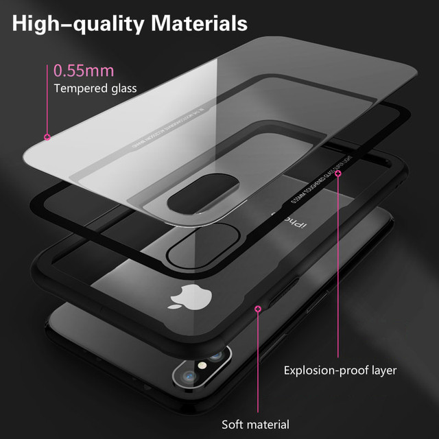 Tempered Glass Case For iPhone 12 12Pro 11 Pro X XR XS Max SE2 High Quality Clear Soft Silicone Glass Cover For iPhone 7 8 Plus 1