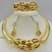 Fashion women Dubai gold color African bead jewelry sets Bridal wedding Party shiny zircon Necklace Bangle Earring Ring