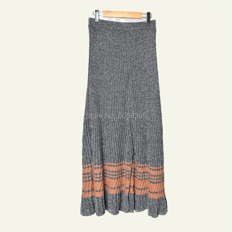 Gris mujer LUREX tejido Falda MIDI cintura elástica rayas contraste dobladillo moda tejido faldas largas 2019 nuevo-in Faldas from Ropa de mujer    2