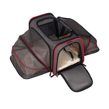 Portable Double exhibition Doggy Bag 600D Oxford Comfortable Cusions Steel Wire Frame Dog Crate Wear-resistant  Dog cage