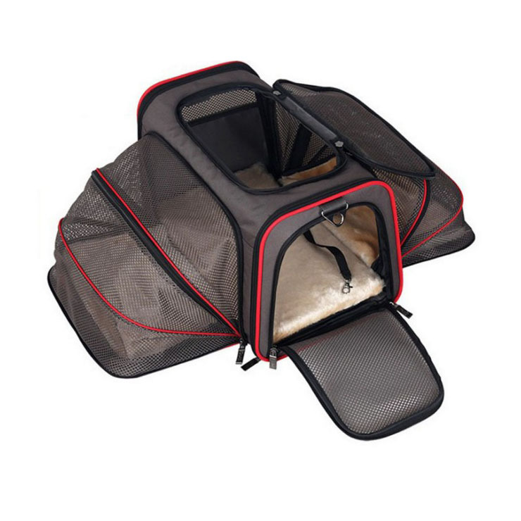 Portable Double exhibition Doggy Bag 600D Oxford Comfortable Cusions Steel Wire Frame Dog Crate Wear resistant Dog cage