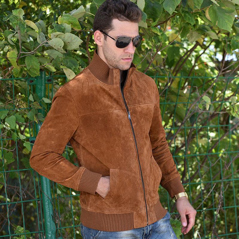 Saveur hommes veste en cuir véritable hommes Pigskin Slim Fit manteau en cuir véritable avec manchette nervurée col debout - 4