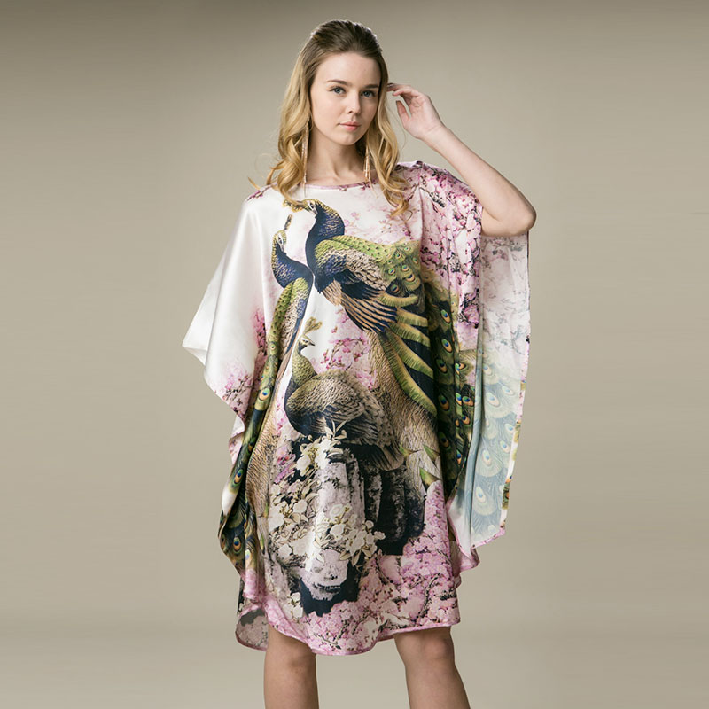 100% Silk Satin Dress Natural Pure Silk Digital Printing Pink Peacock Animal Pattern Printed China Supply Customized Order