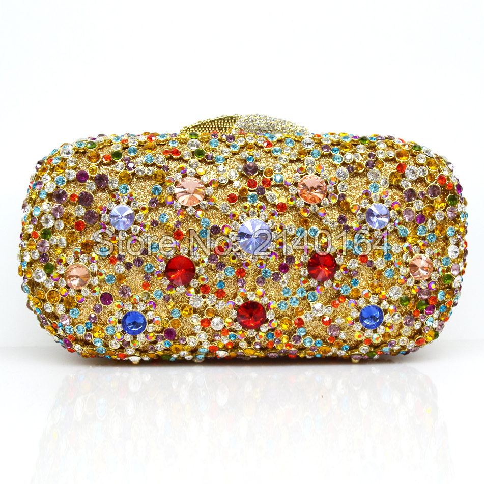 Multicolor Rhinestones Luxury Crystal Evening Clutch Bag Gold soiree pochette Purse for Party Wedding Bridal Prom Bag 88281