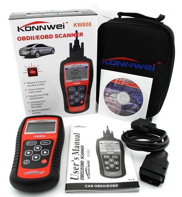 2015 Hot Sale KONNWEI KW808 OBDII / EOBD Auto Code Reader work for US/Asian/European Vehicles Free Shipping