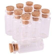 """100 יחידות 10 ml בושם זכוכית מיני גודל 22*50*12.5 מ""""מ צנצנות בקבוקי תבלינים זעיר צלוחיות עם פקק שעם תליון מתנה לחתונה מלאכות"""