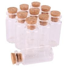 100 adet 10 ml Boyutu 22*50*12.5mm Mini Cam Parfüm Baharat Şişeleri Küçük Kavanoz Şişeleri Ile mantar Tıpa kolye el sanatları düğün hediyesi