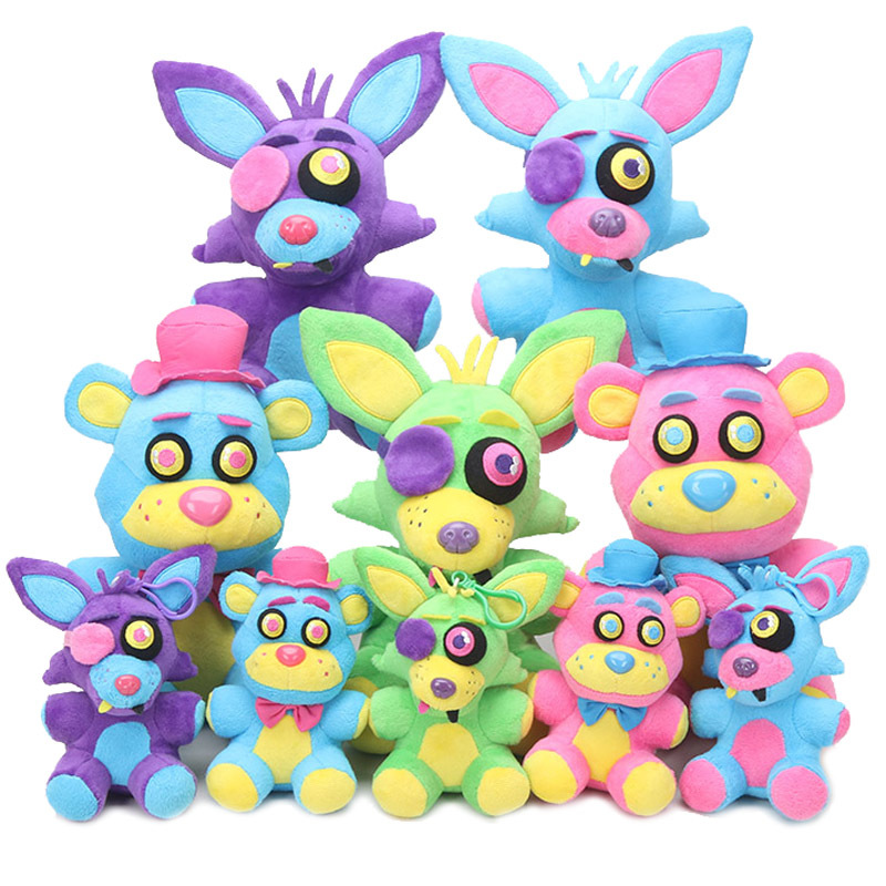 5pcs/set Game Five Nights At Freddy Plush Toys 15/25cm Blacklight Freddy Bear Neon Foxy FNAF Plush Toy Stuffed Doll Kids Gift five nights at freddy plush toys fnaf freddy rabbit plush stuffed animal kids toys 25cm