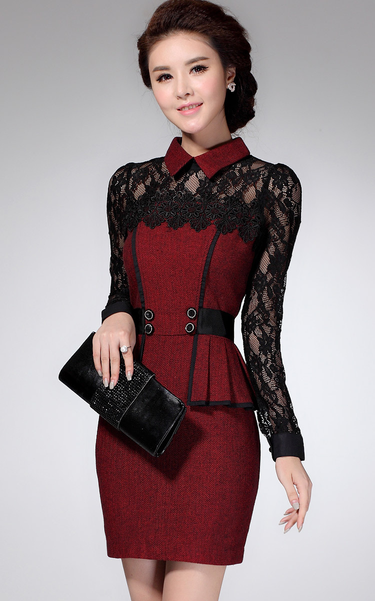 2015 New Winter Autumn Embroidery Office Dress For Women Vintage