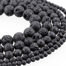 Lava Rock Beads Fashion Round Black Size 4-12mm,Natural Stone Beads For Jewelry Making DIY Free Shipping Wholesale Gem-inside