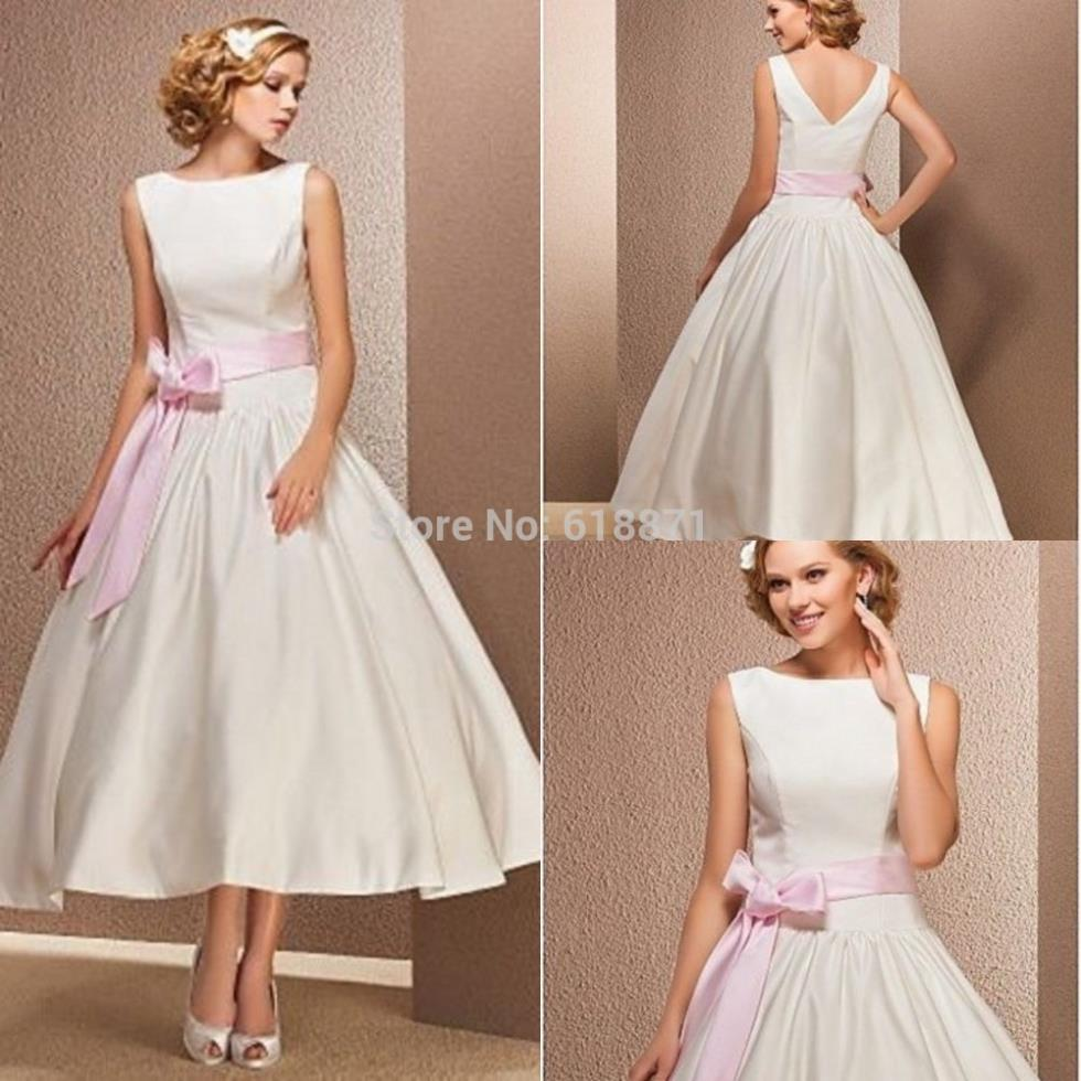 Simple satin wedding dresses with pink sashes high neck for Simple white dresses for wedding