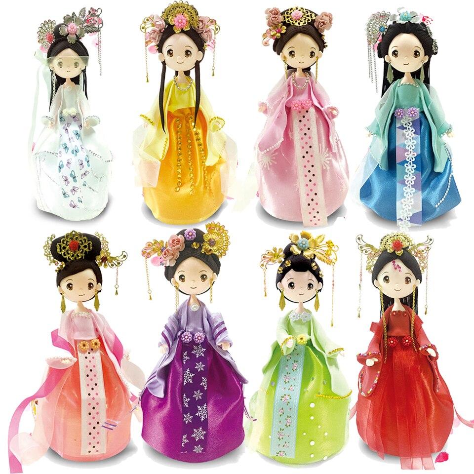 Slime argile colorée moelleuse mousse argile bricolage Style chinois poupée avec robe jouets pour enfants nouveauté artisanat 8 ensembles Slime fournitures