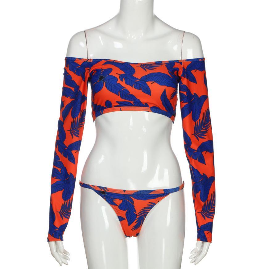 JAYCOSIN 2018 Swimwear-women Sexy Ladies Off Shoulder Long Sleeve Swimwear Split Swimsuit Bra Beachwear dropship m21