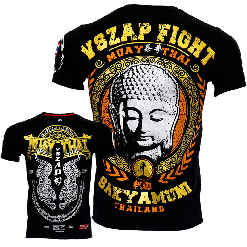VSZAP Thailand Bangkok Boxing MMA T Shirt Gym Tee Shirt Fighting Fighting Martial Arts Fitness Training Muay Thai TShirt Men Hom