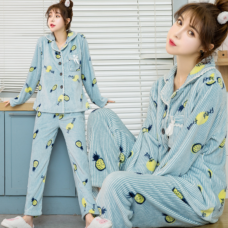 Women Flannel Maternity Sleepwear Big Size Winter Thick Pregnant Sleep Clothes  Flannel Maternal Nursing Breastfeeding Pajamas
