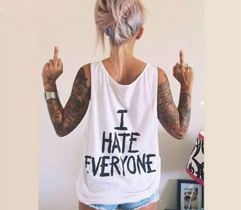 BKLD Women T-Shirt I HATE EVERYONE   TOPS   Funny t shirt Women Sexy Sleeveless   Tank     Tops   Back Letter Cotton Casual Tshirt   Tank   Tees