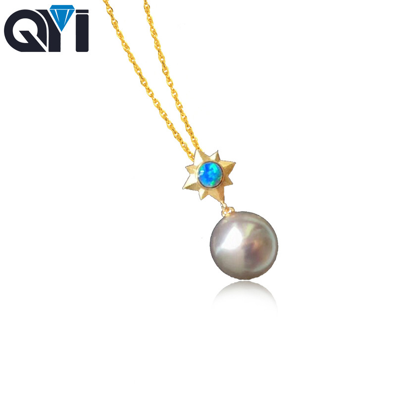 14k Yellow Gold Genuine Opal and Sapphire Pendant