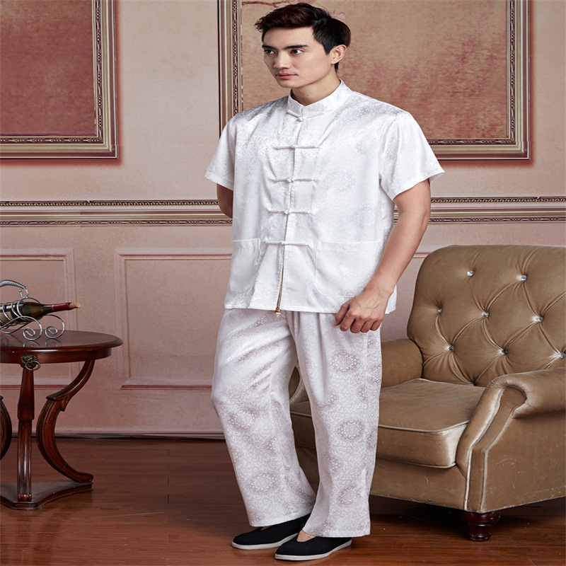 White Chinese Men Tai Chi Uniform Traditional Silk Satin Kung Fu Suit Short Sleeve Wu Shu Clothing SizeM L XL XXL XXXL