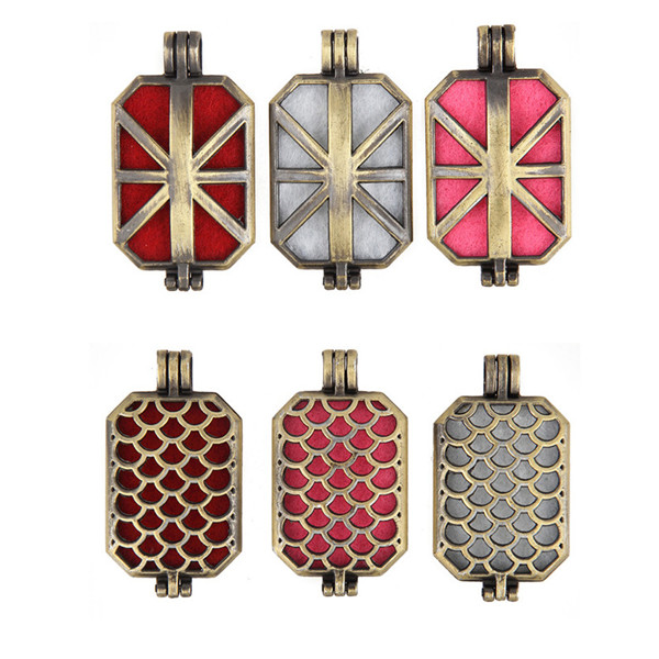 New Trendy Hollow Flake Bronze Plated Rectangle Locket Pendant Essential Oil Perfume Aromatherapy Jewelry For Women