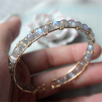 Natural Moonstone Handmade Bracelets 14 Gold Wrap Filled Customize Bangles Unique Gift Vintage Jewelry Bracelet for Women