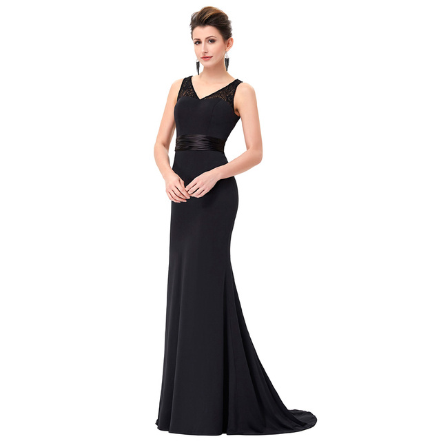 Vintage Black Long Evening Dress Party Prom Gown Sexy V neck Bodycon Dress Floor Length Formal Evening Dress Robe de Soiree