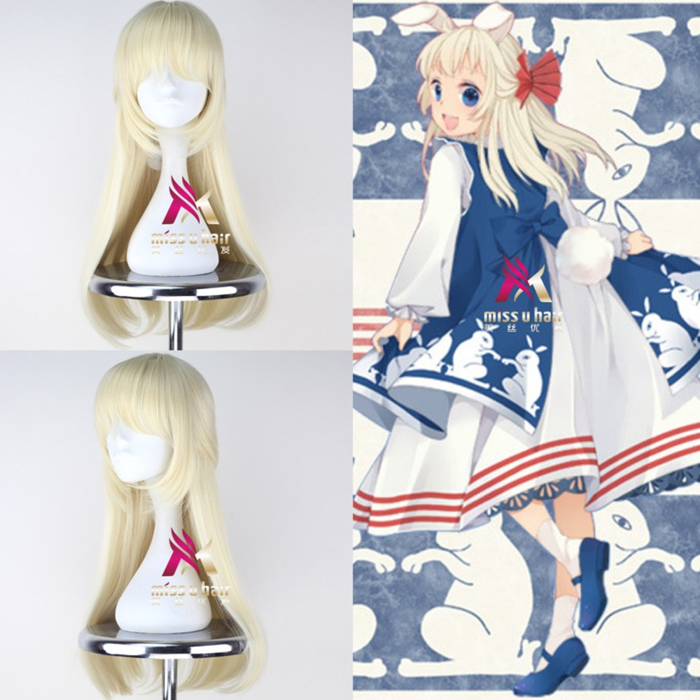 High Quality Anime Kasugano Sora cosplay dresses Yosuga no Sora cosplay white Lolita costumes Custom-made With wig rabbit