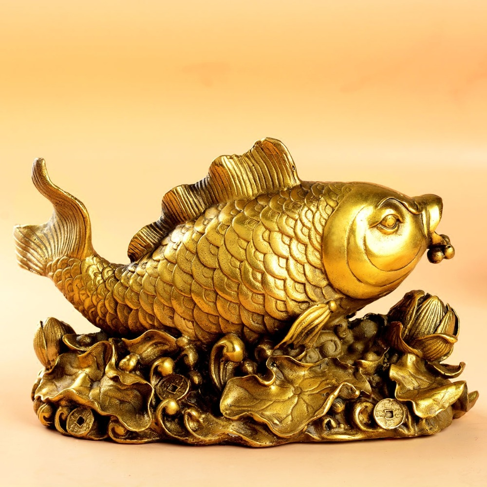 Fengshui Wealth Brass Copper Arowana Fish Statue Figurine Decor Golden Fish in Figurines Miniatures from Home Garden