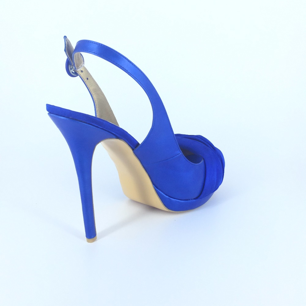 Royal Blue/White Slip ons Open Toe Sandal For Women Thin High Heels Wedding  Shoes Designer Shoes Women 2015 Made to order-in Women's Sandals from Shoes  on ... - Royal Blue/White Slip Ons Open Toe Sandal For Women Thin High