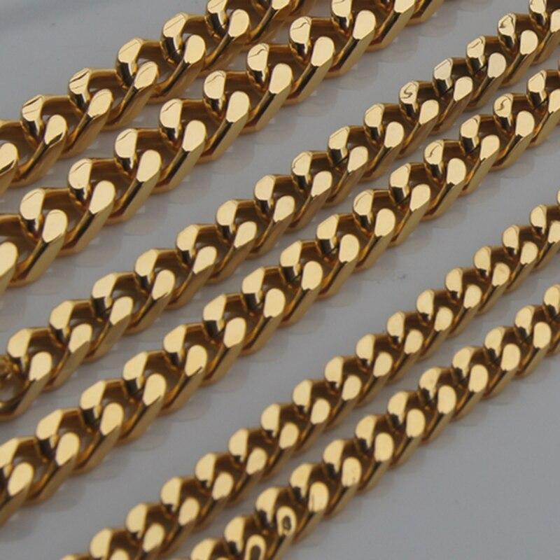 9 мм позолота 316L Нержавеющая сталь мужчин/мальчика цепи ожерелья и кулоны мужчин ювелирных панк