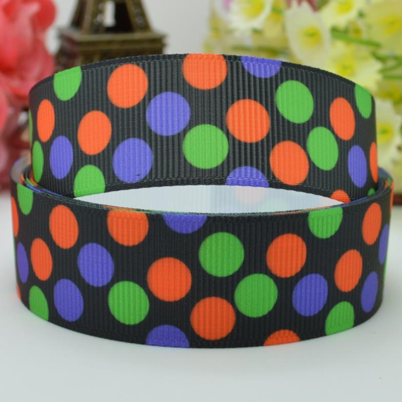 2014 top fashion <font><b>Halloween</b></font> dots 22mm party decorations craft material printed <font><b>grosgrain</b></font> <font><b>ribbons</b></font> 50 yard <font><b>7/8</b></font> roll new image
