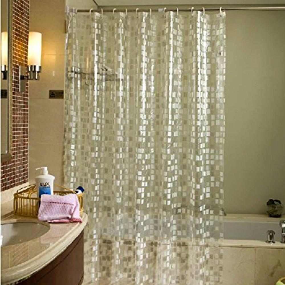 180x180cm Waterproof Mildewproof Semi Transparent Peva Shower Curtains With Stylish Modern