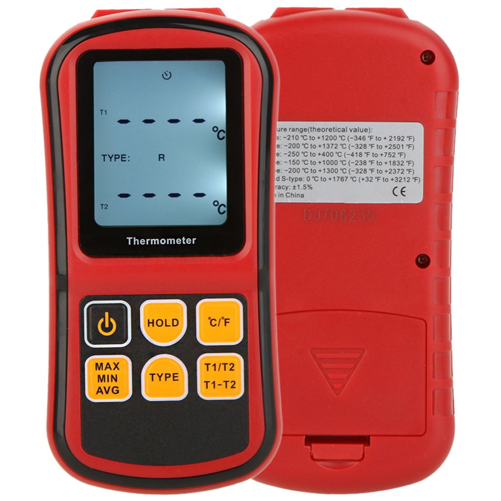 Neue GM1312 Digital Thermometer Dual-kanal Temperatur diagnose-tool Tester fü<font><b>r</b></font> K/J/T/E/ <font><b>r</b></font>/S/N Thermoelement mit Lcd-hintergrundbeleuchtung image