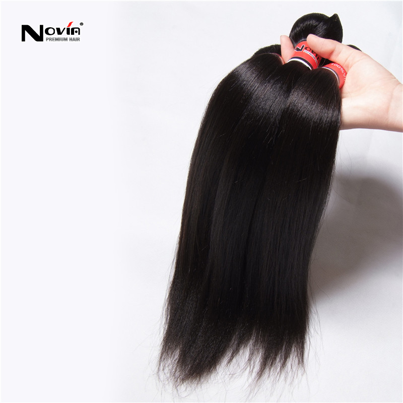 15% Off 7A Remy Yaki Human Hair Weaves 4Bundles Malaysian Virgin Straight Weft 100G Unprocessed Light Virign