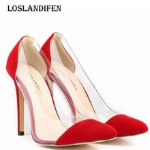 e7bb9de308f02 Loslandifen Moda Mulheres Sexy Festa de Camurça Dedo Do Pé Apontado Sapatos  de Salto Alto Plus