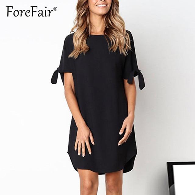 058364d69063c Forefair 2019 Summer Dress Women Casual tshirt dresses bow tie Short Sleeve  Round Neck Solid ladies t shirt vestidos