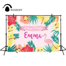 Allenjoy camera photography Tropical jungle birthday background flamingo flower colorful party photo backdrop For a photo shoot