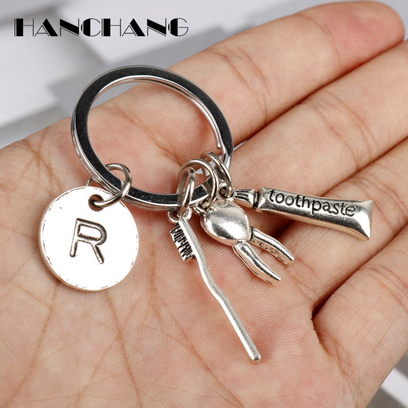 Funny Design Keychain Toothbrush/Toothpaste/Tooth Keyrings Key Chain Car Bag Pendants Decoration Jewelry image