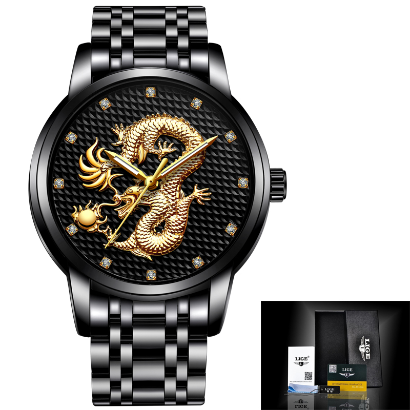LIGE Men Watches Top Luxury Brand Casual Black Gold Dragon Watch Men Sports Waterproof Full Steel Quartz Clock Relogio masculinoLIGE Men Watches Top Luxury Brand Casual Black Gold Dragon Watch Men Sports Waterproof Full Steel Quartz Clock Relogio masculino