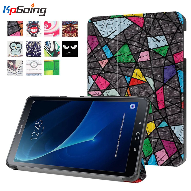 New Cute Painted Flip PU Leather Case for Samsung Galaxy Tab A A6 10.1 2016 T585 T580 T580N Tablet Stand Cover Auto Sleep Up for samsung galaxy tab a6 2016 10 1 t585 t580 t580n tablet cover case cartoon leather flip stand case for samsung tab a6 10 1