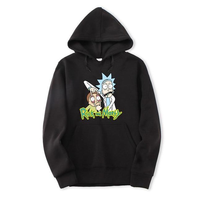 2018 otoño hip hop Hoodies hombres moda Rick Morty marca Pullover cuello  alto de impresión sudadera c621cef549f