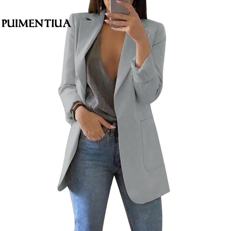 Puimentiua Frühling Frauen Vorne Offen Slim Fit Arbeit Büro Strickjacke Blazer Weibliche Lange Hülse Mantel Outwear Mit Tasche 2019 SorgfäLtig AusgewäHlte Materialien Frauen Kleidung & Zubehör