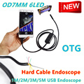 Mini 6 LEDs USB Endoscope Inspection Camera Borescope7MM Dia Waterproof Digital Inspection Snake Tube Android Camera Hard Cable