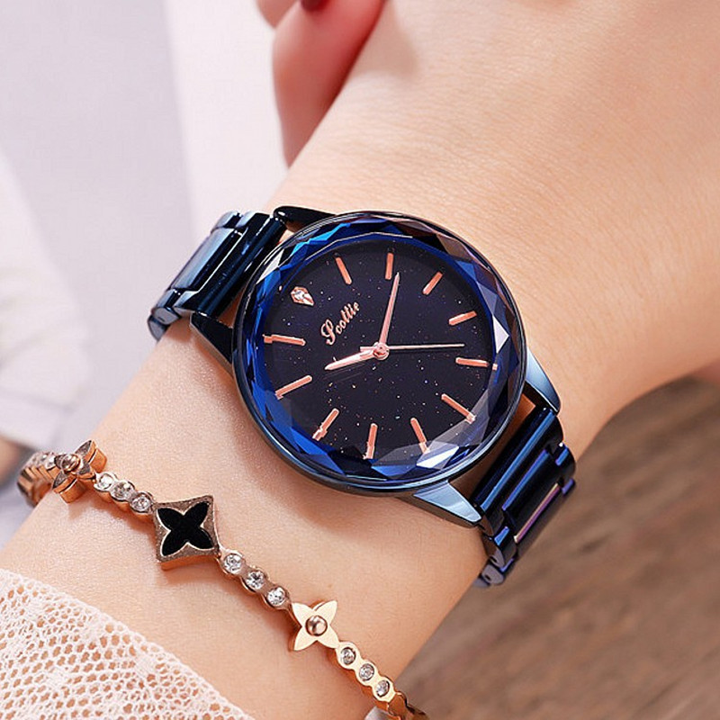New Luxury Starry Dial Diamond Women Watches Fashion Lady Casual Quartz Watch Women Stainless Steel Dress Wrist Watch Clock Gift new women watch fashion wrist watch stainless steel band analog quartz watches casual digital scale rhinestone dial gift gold