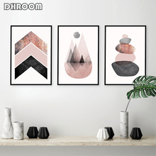 Scandinavian Prints Pink Grey Rose Gold Poster Chevrons Mountains Stones Canvas Painting Modern Abstract Wall Art Decor