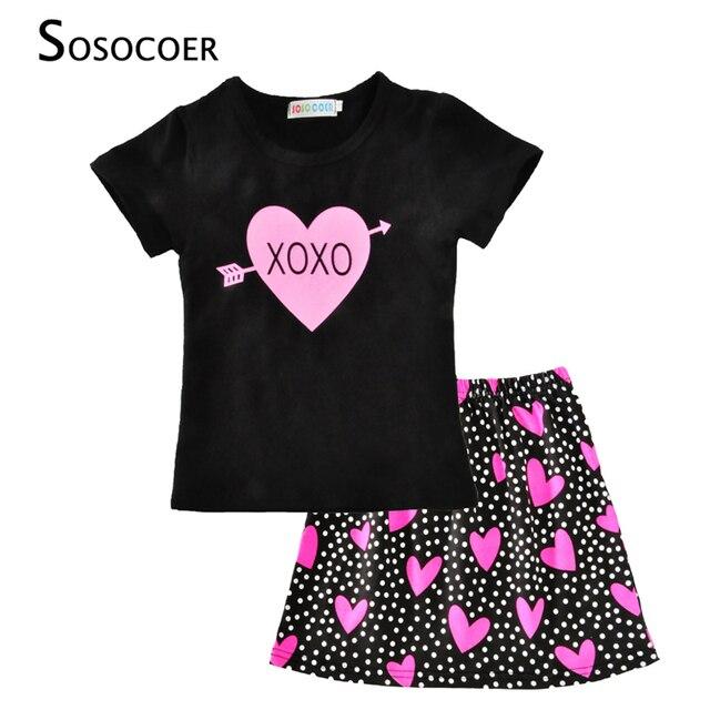 SOSOCOER Fille Vêtements Ensemble 2017 D été Flèche T-shirt + Polka Dot Jupe 628c8229be0