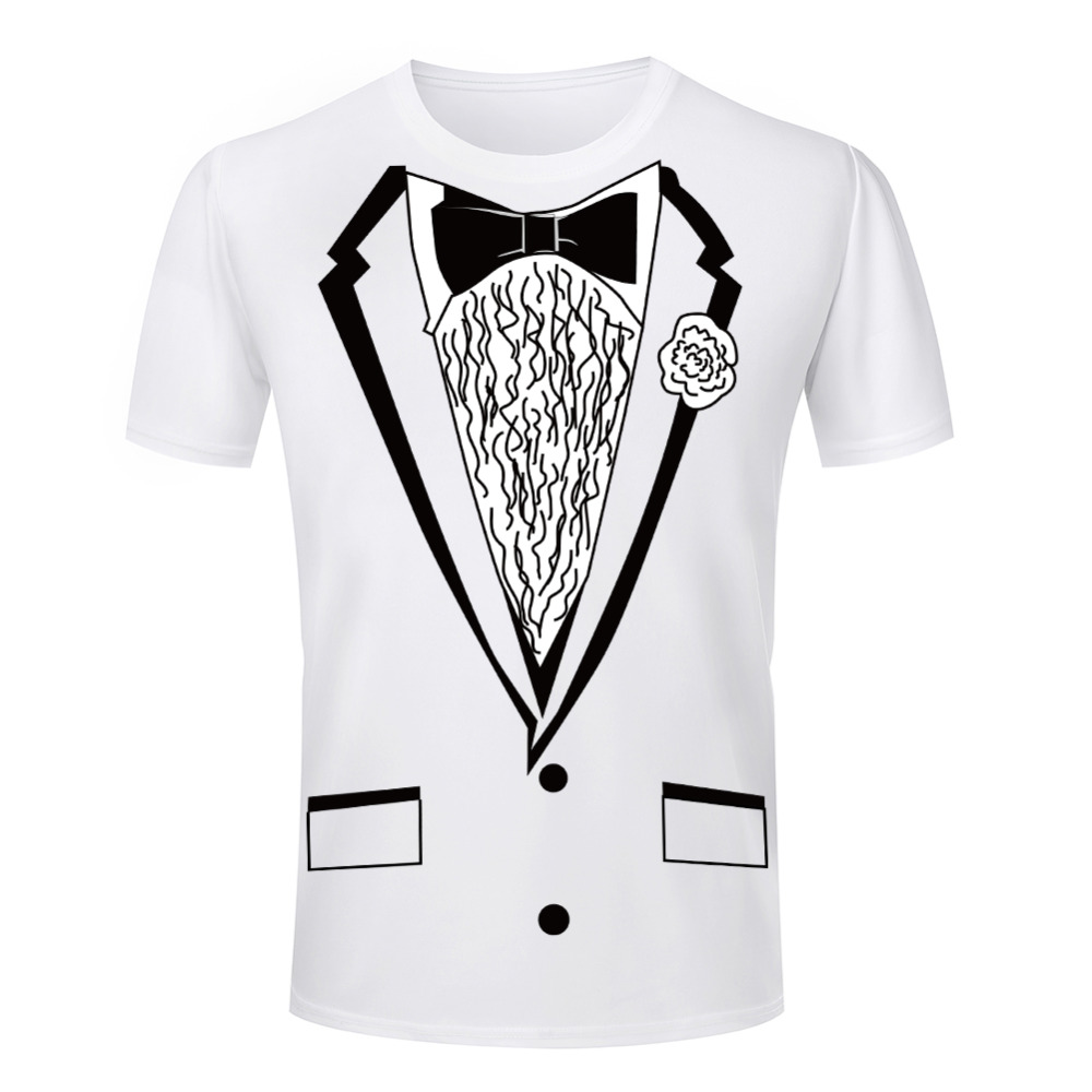 Fashion Classic Style T Shirts Men Handsome Tuxedo Printed