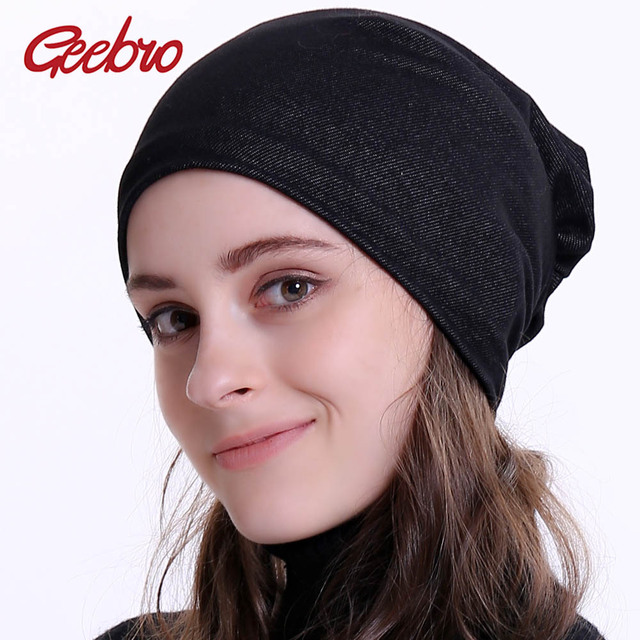 db7af17a4 US $4.99 40% OFF|Aliexpress.com : Buy Geebro Brand 2019 New Women's Beanie  Hat Plain Cotton Jean Slouchy Beanies for Femme Balavaca Bonnet Cap ...