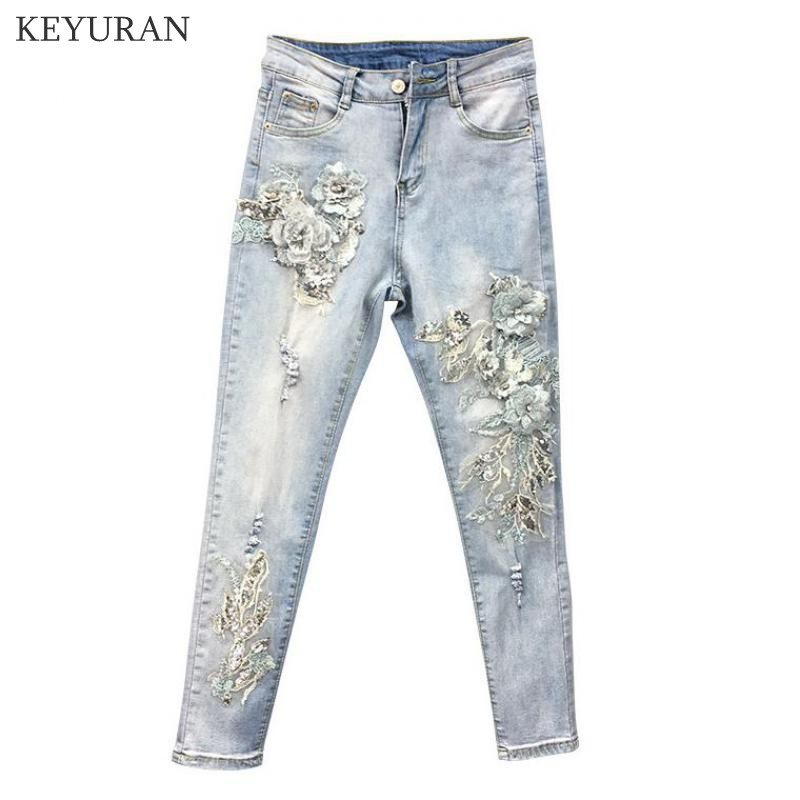 Summer Autumn Fashion Women Embroidery Sequined Flower Elastic Skinny Pencil Denim Trousers , High Waist Slim Woman Jeans Pants