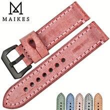 Женский ремешок для часов maikes из натуральной кожи красный