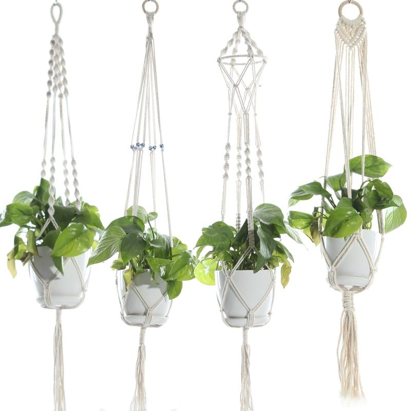 Macrame Plant Hanger Indoor Outdoor Hanging Planter Basket Jute Rope With Beads 4 Legs 40 Inch